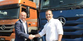 A Mercedes-Benz comercializou quase 500 caminhões para operadores de transporte da Ambev. Assim, a dona de marcas como Água AMA, Skol e Brahma,
